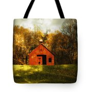 Autumn Day On School House Hill Tote Bag by Denise Beverly