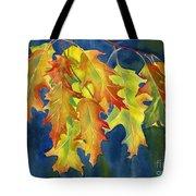 Autumn Oak Leaves  on Dark Blue Background Tote Bag by Sharon Freeman