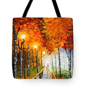Autumn Park Night Lights Palette Knife Tote Bag by Georgeta  Blanaru