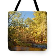Autumn's Golden Pond Tote Bag by Kim Hojnacki