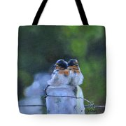 Baby Swallows On Post Tote Bag by Donna Tuten