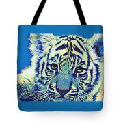 Baby Tiger- Blue Tote Bag by Jane Schnetlage