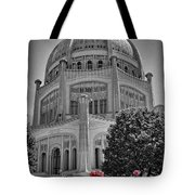 Bahai Temple Wilmette In Black And White Tote Bag by Rudy Umans