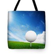 Ball On Tee On Green Golf Field Tote Bag by Michal Bednarek