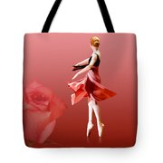 Ballerina On Pointe With Red Rose  Tote Bag by Delores Knowles