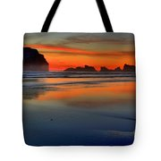 Bandon Foggy Fire Tote Bag by Adam Jewell