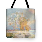 Banks Of The Seine And Vernon In Winter Tote Bag by Albert Charles Lebourg