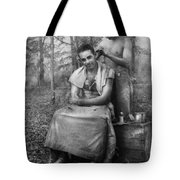 Barber - Wwii - Gi Haircut Tote Bag by Mike Savad