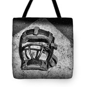 Baseball Catchers Mask Vintage in black and white Tote Bag by Paul Ward