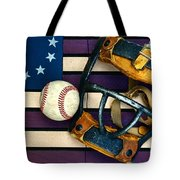 Baseball Catchers Mask Vintage On American Flag Tote Bag by Paul Ward