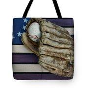 Baseball Mitt On American Flag Folk Art Tote Bag by Paul Ward
