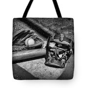 Baseball Play Ball In Black And White Tote Bag by Paul Ward