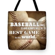Baseball Print With Babe Ruth Quotation Tote Bag by Lisa Russo