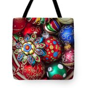 Basketful Of Christmas Ornaments Tote Bag by Garry Gay