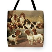 Basset Hounds In A Kennel Tote Bag by VT Garland