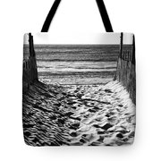 Beach Entry Black And White Tote Bag by John Rizzuto