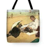 Beach Scene Little Girl Having Her Hair Combed By Her Nanny Tote Bag by Edgar Degas