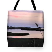 Beautiful Pink And Purple Sunset Over A New England Tidal Salt M Tote Bag by Marianne Campolongo
