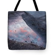Beauty Is Everywhere - Sky Reflected In Puddle Of Water Tote Bag by Matthias Hauser