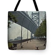 Ben Franklin Bridge And Pier Tote Bag by Tom Gari Gallery-Three-Photography