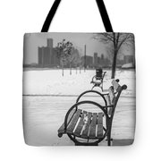 Bench At Belle Isle With Detroit I Tote Bag by John McGraw
