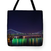 Benjamin Franklin Bridge At Night From Penn's Landing Tote Bag by Bill Cannon