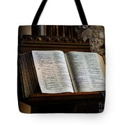 Bible Open On A Lectern Tote Bag by Louise Heusinkveld