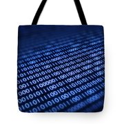 Binary Code On Pixellated Screen Tote Bag by Johan Swanepoel