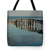 Birds On Old Dock On The Bay Tote Bag by Michael Thomas