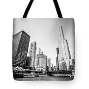 Black And White Picture Of Downtown Chicago Tote Bag by Paul Velgos