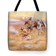 Black Feet Burning The Buffalo Range Tote Bag by Charles Russell