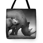 Black Rhinoceros Baby And Cow Tote Bag by Johan Swanepoel