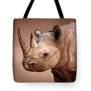 Black Rhinoceros Portrait Tote Bag by Johan Swanepoel