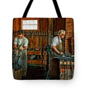 Blacksmith And Apprentice Impasto Tote Bag by Steve Harrington