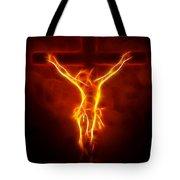 Blazing Jesus Crucifixion Tote Bag by Pamela Johnson