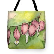 Bleeding Hearts Tote Bag by Nora Blansett
