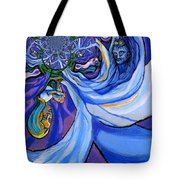 Blue And Purple Girl With Tree And Owl Upside Down Tote Bag by Genevieve Esson