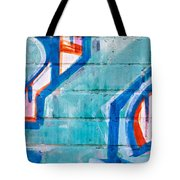 Blue Brick Graffiti Tote Bag by Art Block Collections