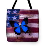 Blue Butterfly On American Flag Tote Bag by Garry Gay