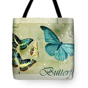 Blue Butterfly - s55c01 Tote Bag by Variance Collections