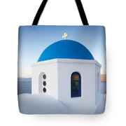 Blue domed church in Oia Santorini Greece Tote Bag by Matteo Colombo