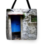 Blue Door  On Rustic House Tote Bag by Lainie Wrightson