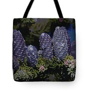 Blue Fir Cones 2 Outlined Tote Bag by Sharon Talson