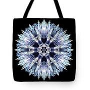 Blue Globe Thistle Flower Mandala Tote Bag by David J Bookbinder