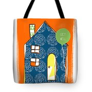 Blue House Get Well Card Tote Bag by Linda Woods