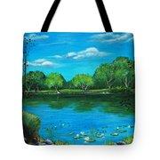 Blue Lake Tote Bag by Anastasiya Malakhova