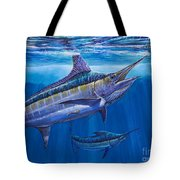Blue Marlin Bite Off001 Tote Bag by Carey Chen