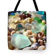 Blue Seaglass Beach art prints Shells Agates Tote Bag by Baslee Troutman
