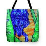 Blue Wolf Tote Bag by Derrick Higgins