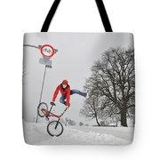 Bmx Flatland In The Snow - Monika Hinz Jumping Tote Bag by Matthias Hauser